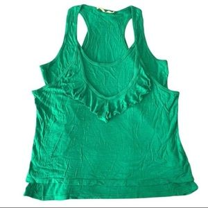 Anthropology Green Double Layer Tank Top